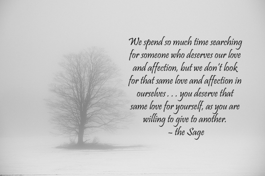 single tree in fog - love and affection