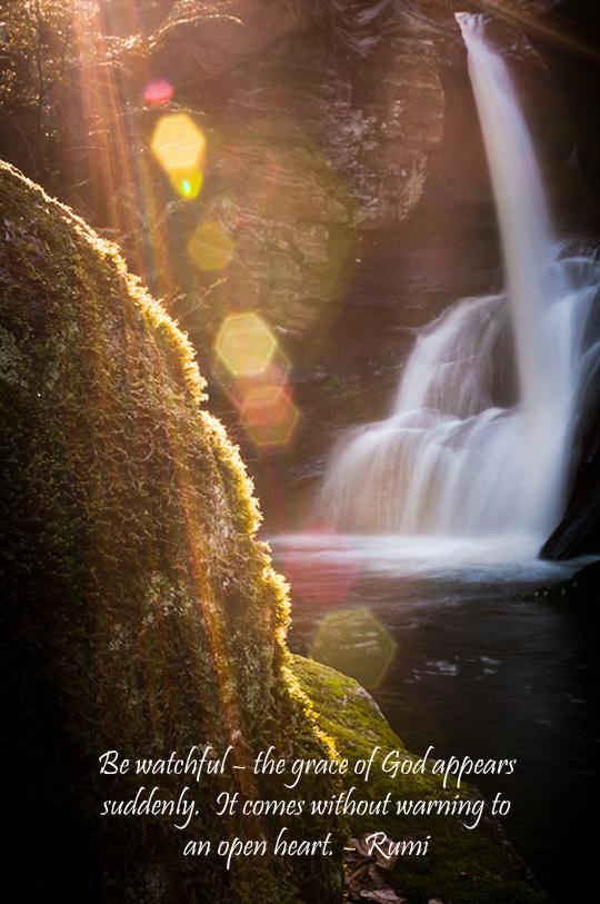 waterfall rainbow - grace of god